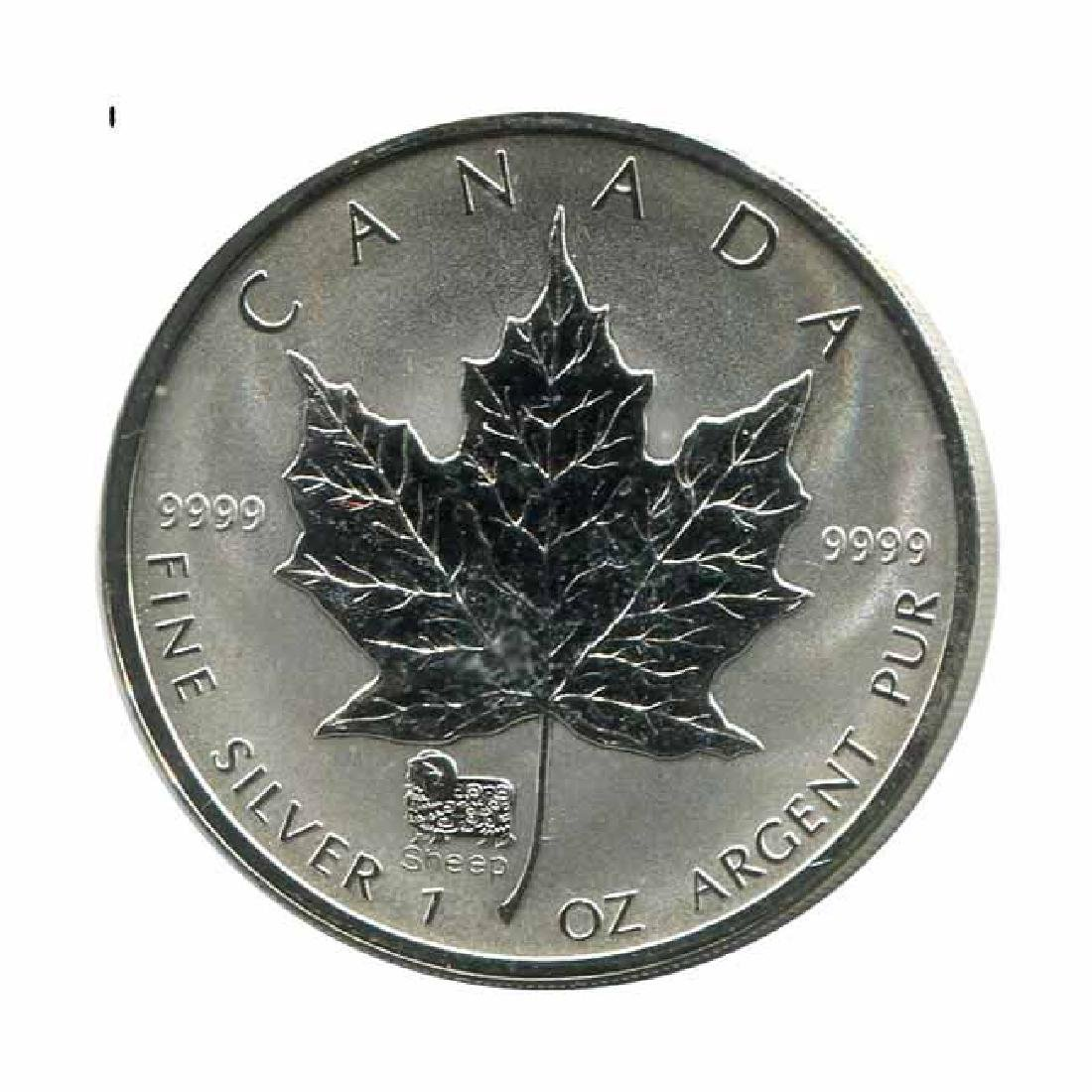 2003 Canada 1 oz. Silver Maple Leaf Reverse Proof Sheep