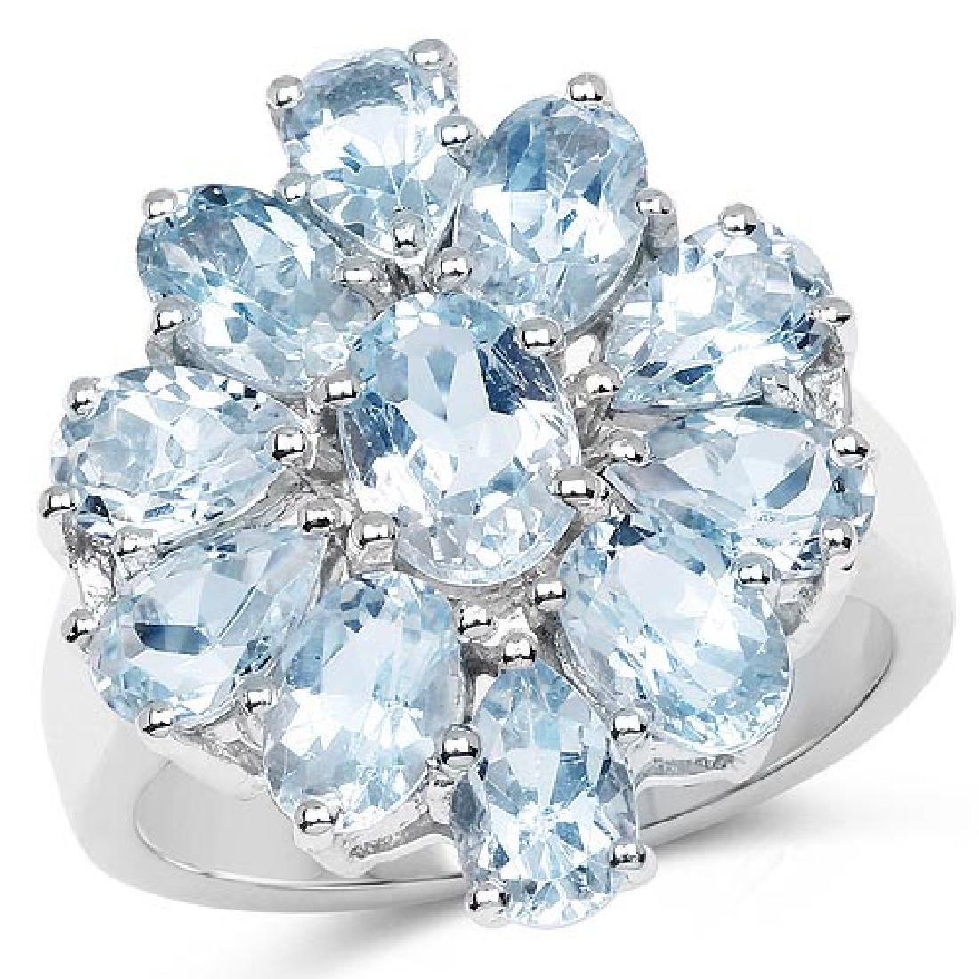 5.87 Carat Genuine Blue Topaz .925 Sterling Silver Ring