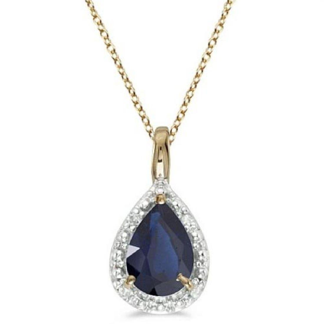 Pear Shaped Blue Sapphire Pendant Necklace 14k Yellow G