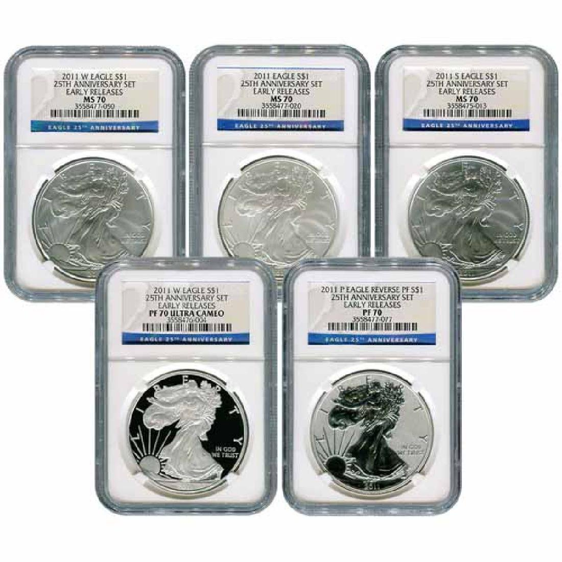 Certified 2011 American Eagle 25th Anniversary 5pc Silv