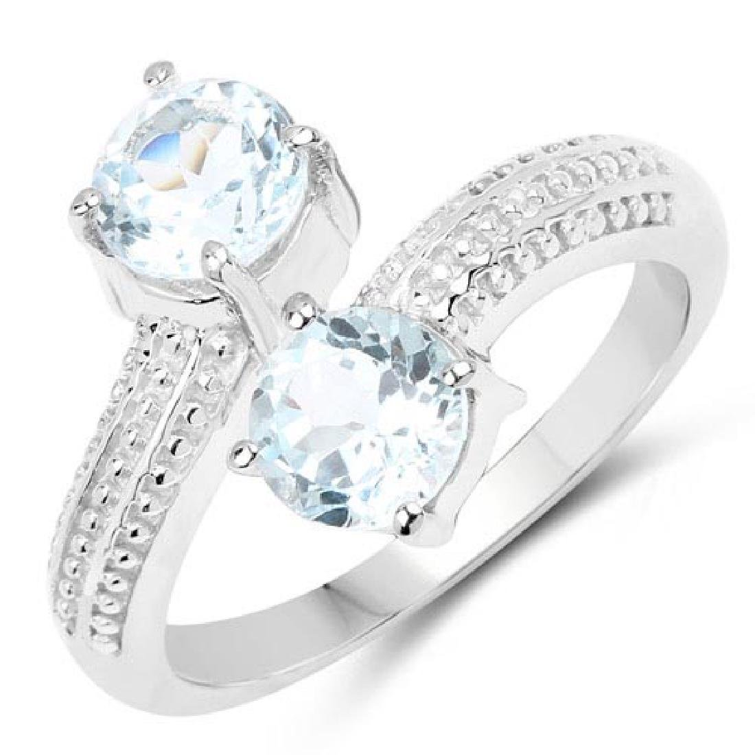 1.90 Carat Genuine Blue Topaz .925 Sterling Silver Ring