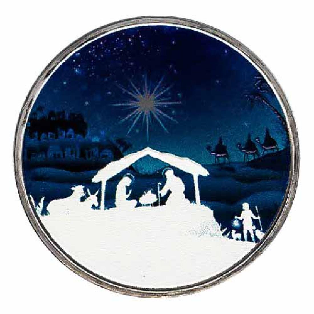 Colorized Christmas 2017 Silver Round Christmas Manger