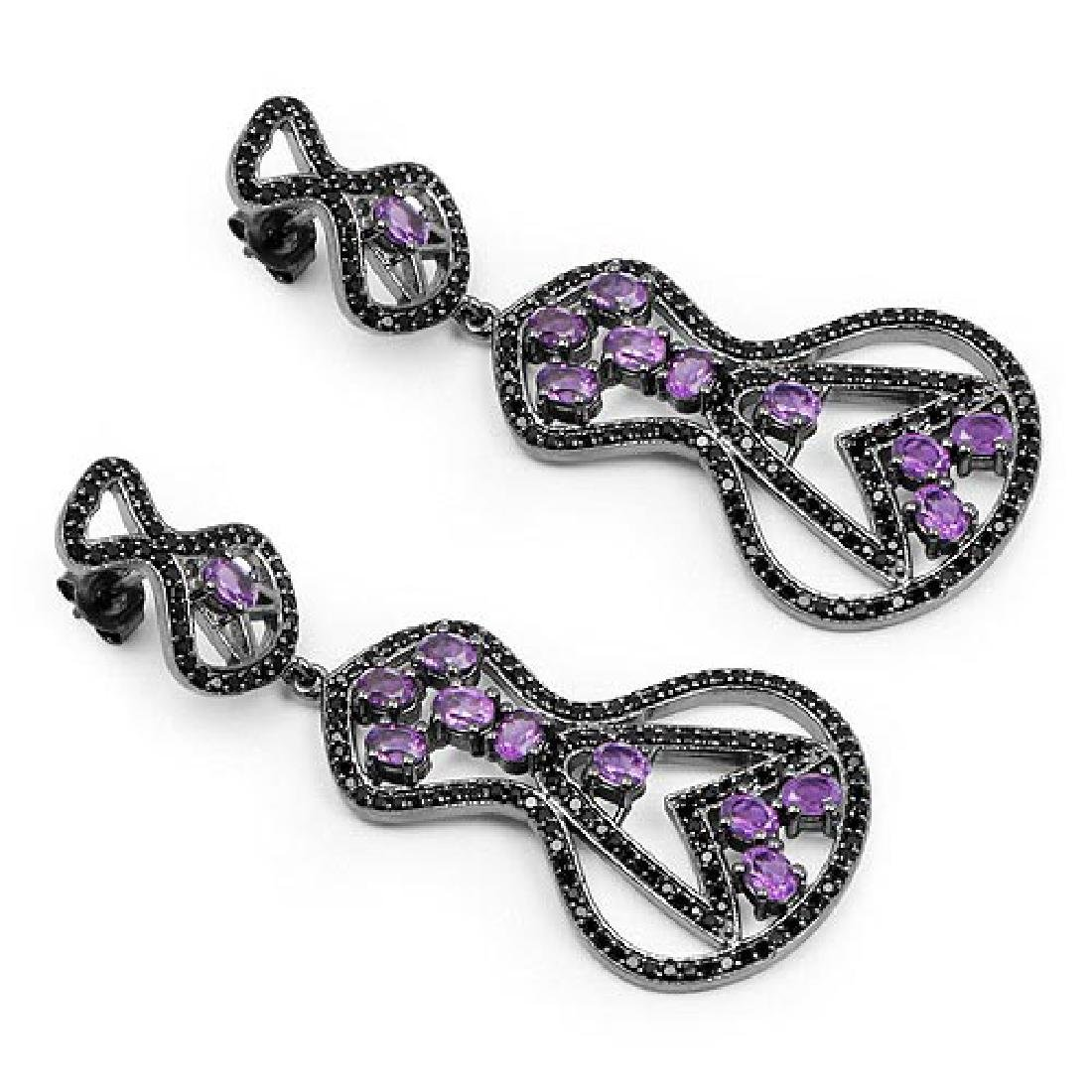 5.30 Carat Genuine Amethyst and Black Spinel .925 Sterl