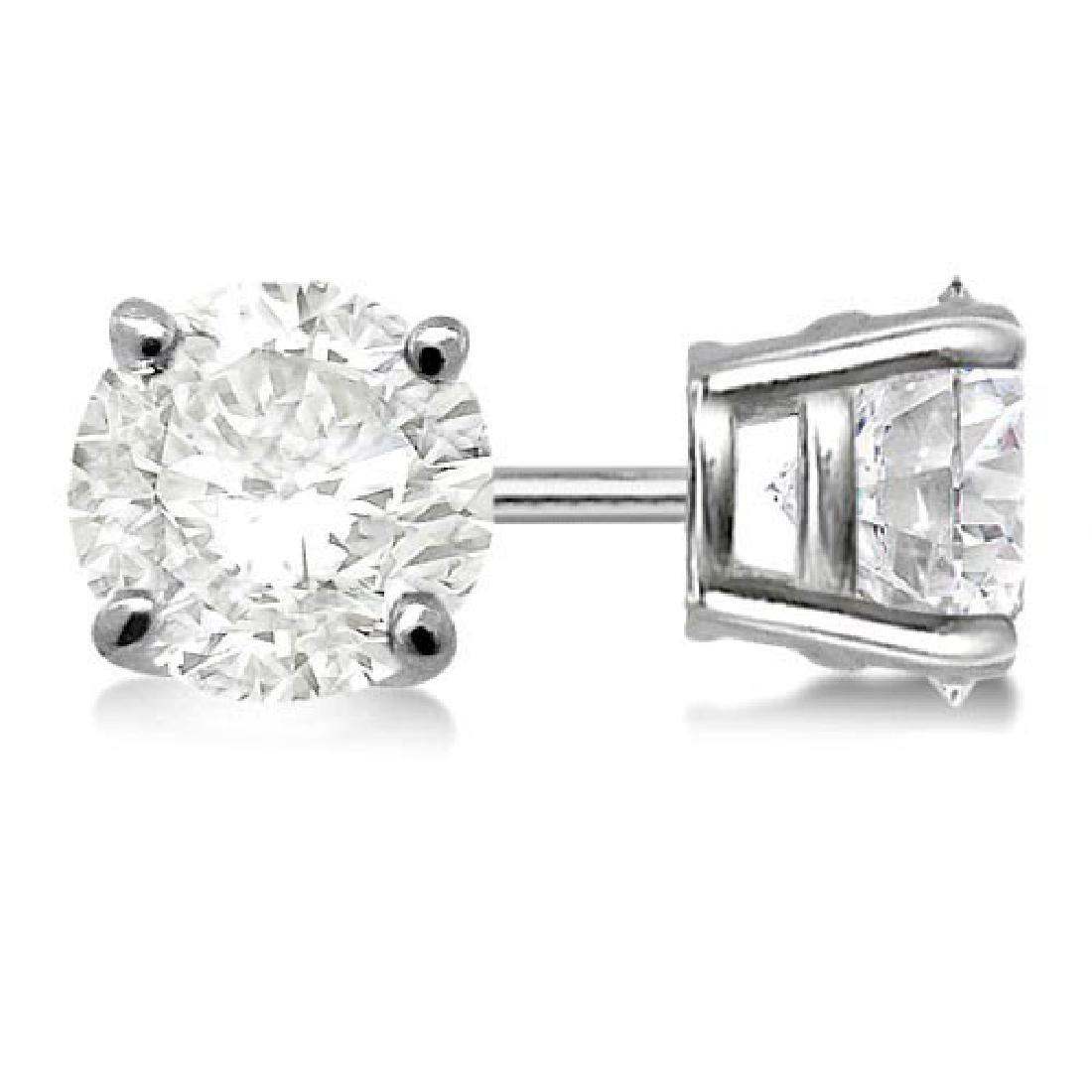 Certified 1.09 CTW Round Diamond Stud Earrings D/I2