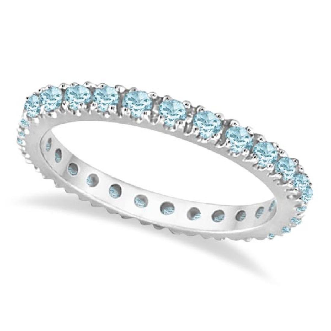 Aquamarine Eternity Stackable Ring Guard Band 14K White
