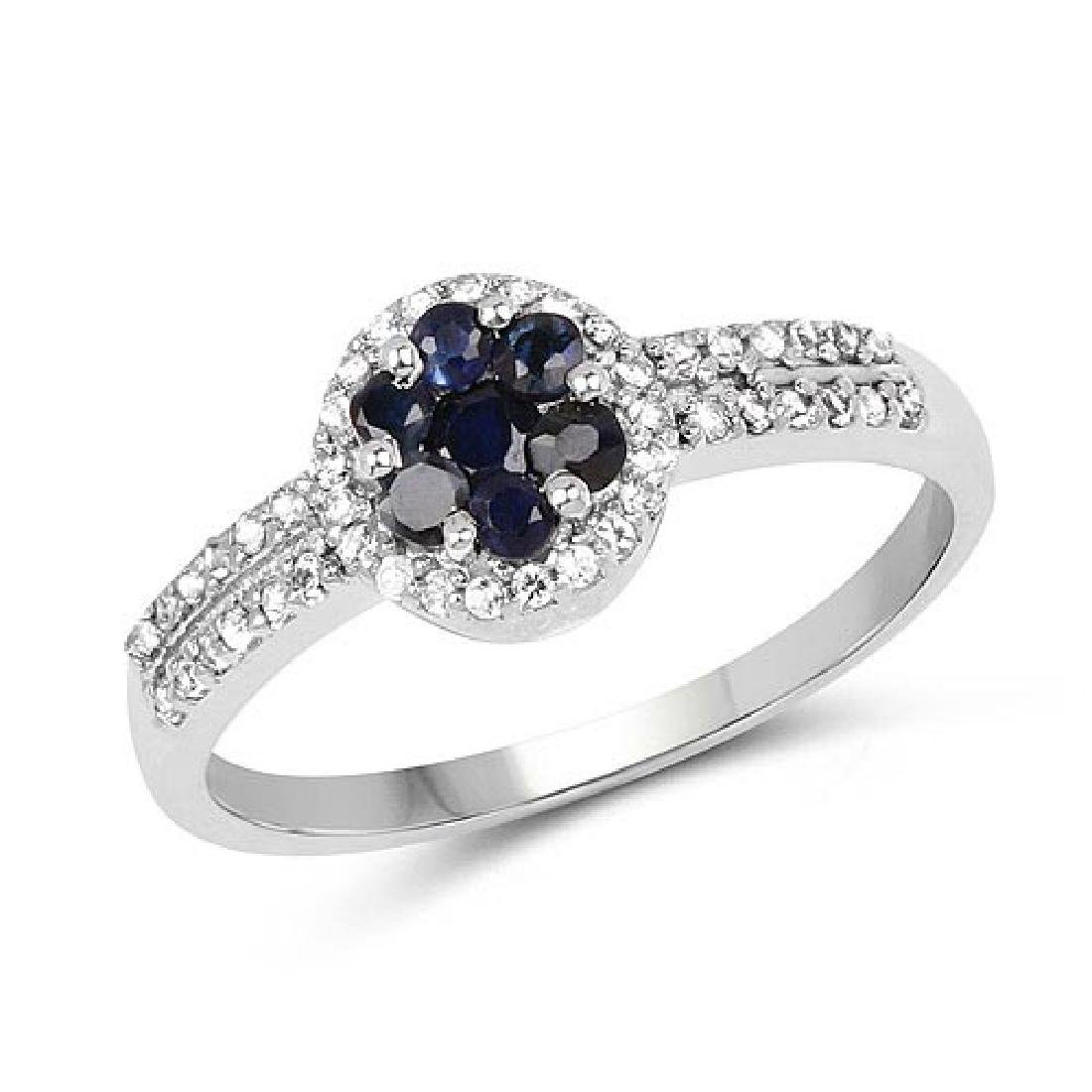0.72 Carat Genuine Blue Sapphire and White Topaz .925 S