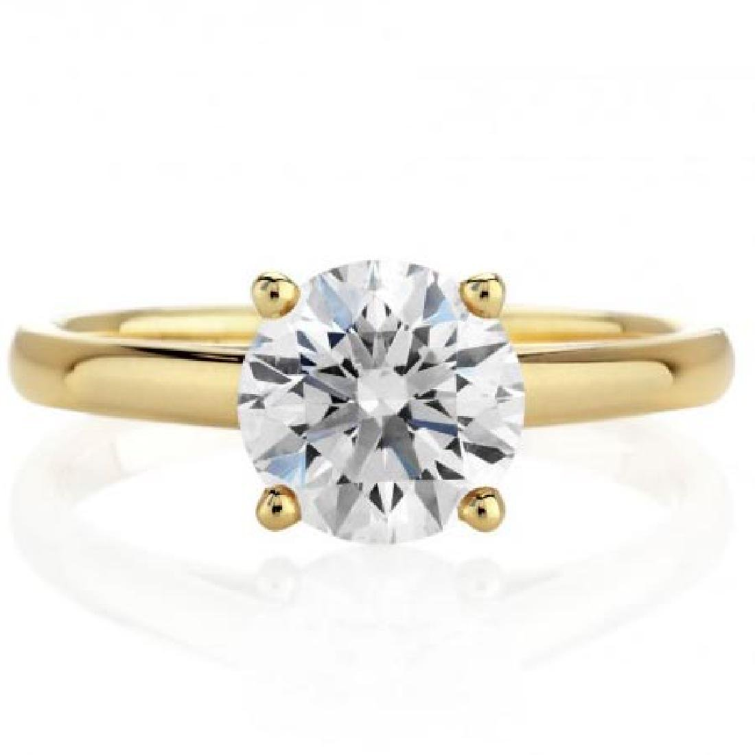 CERTIFIED 0.92 CTW ROUND E/VVS2 SOLITAIRE RING IN 14K Y