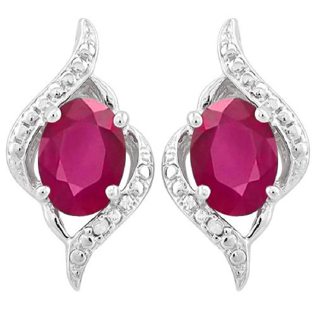 2 CARAT AFRICAN RUBY & DIAMOND 925 STERLING SILVER EARR