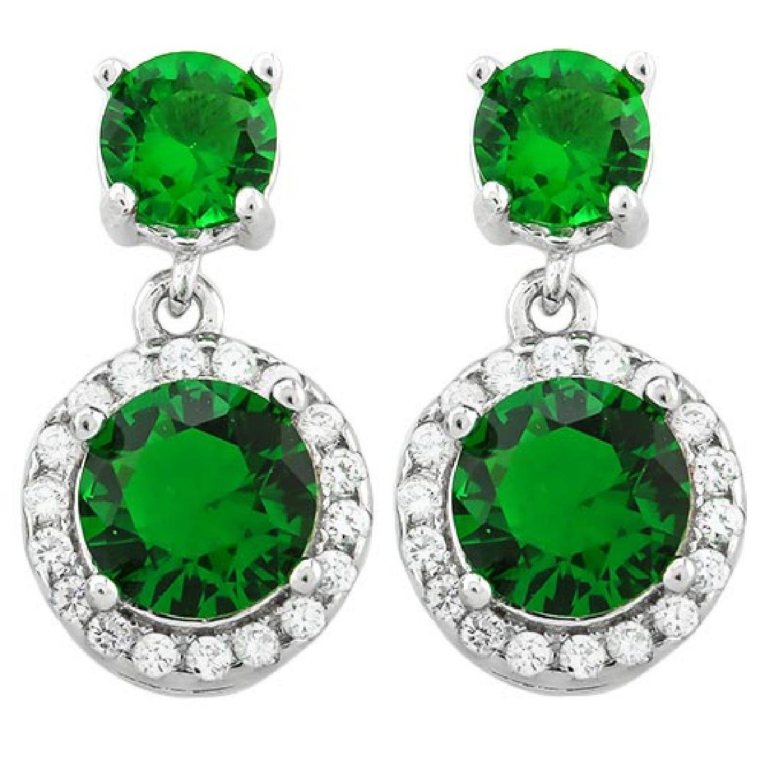 CREATED EMERALD 925 STERLING SILVER EARRINGS