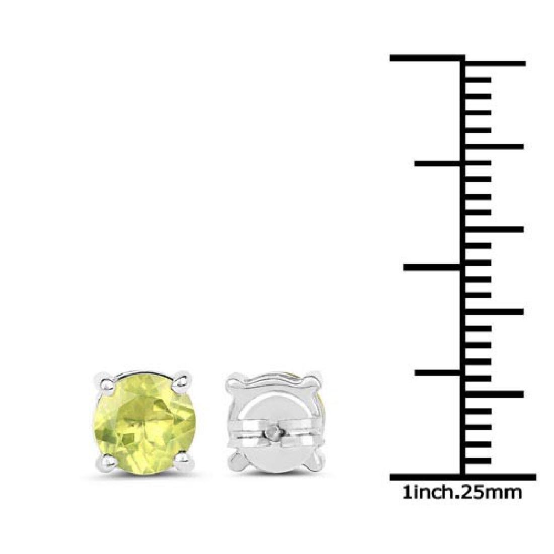 1.71 Carat Genuine Peridot .925 Sterling Silver Earring