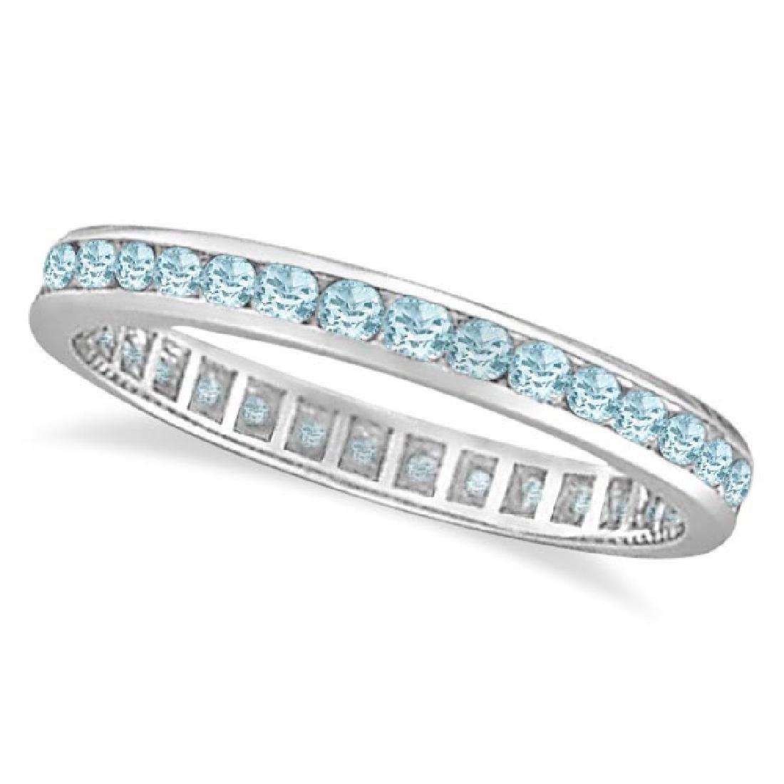 Aquamarine Channel-Set Eternity Ring Band 14k White Gol