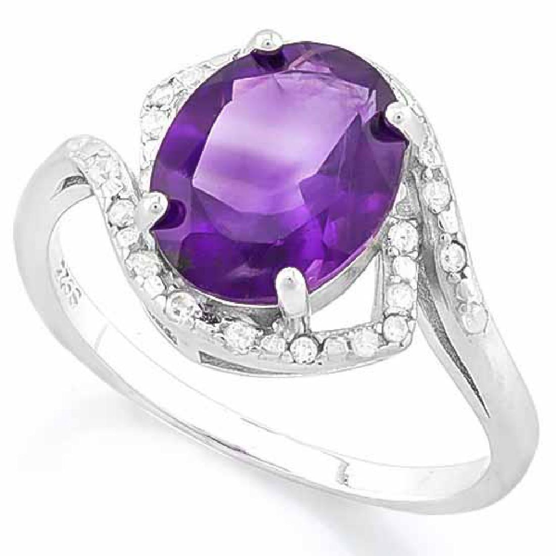 AMETHYST & 1/4 CARAT (34 PCS) FLAWLESS CREATED DIAMOND