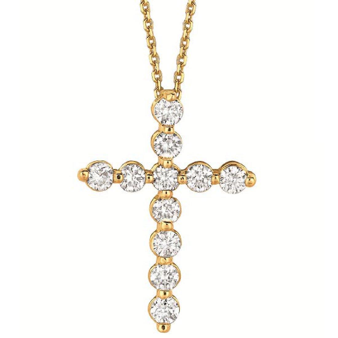 Diamond Cross Pendant Necklace in 14k Yellow Gold (1.01