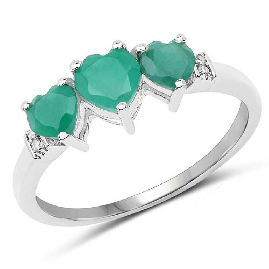0.97 Carat Genuine Emerald and White Diamond 10K White