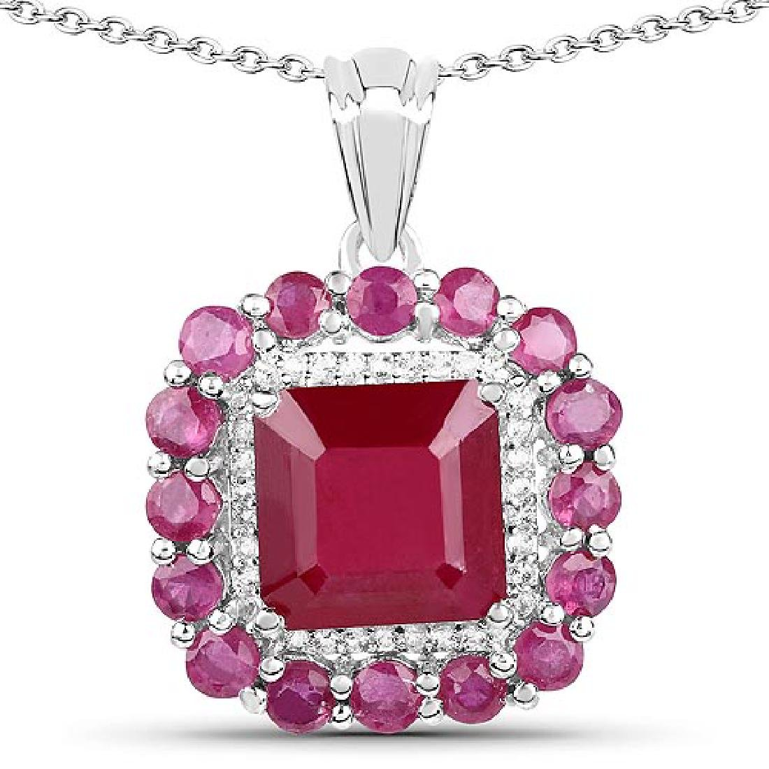 8.48 Carat Glass Filled Ruby and White Topaz .925 Sterl