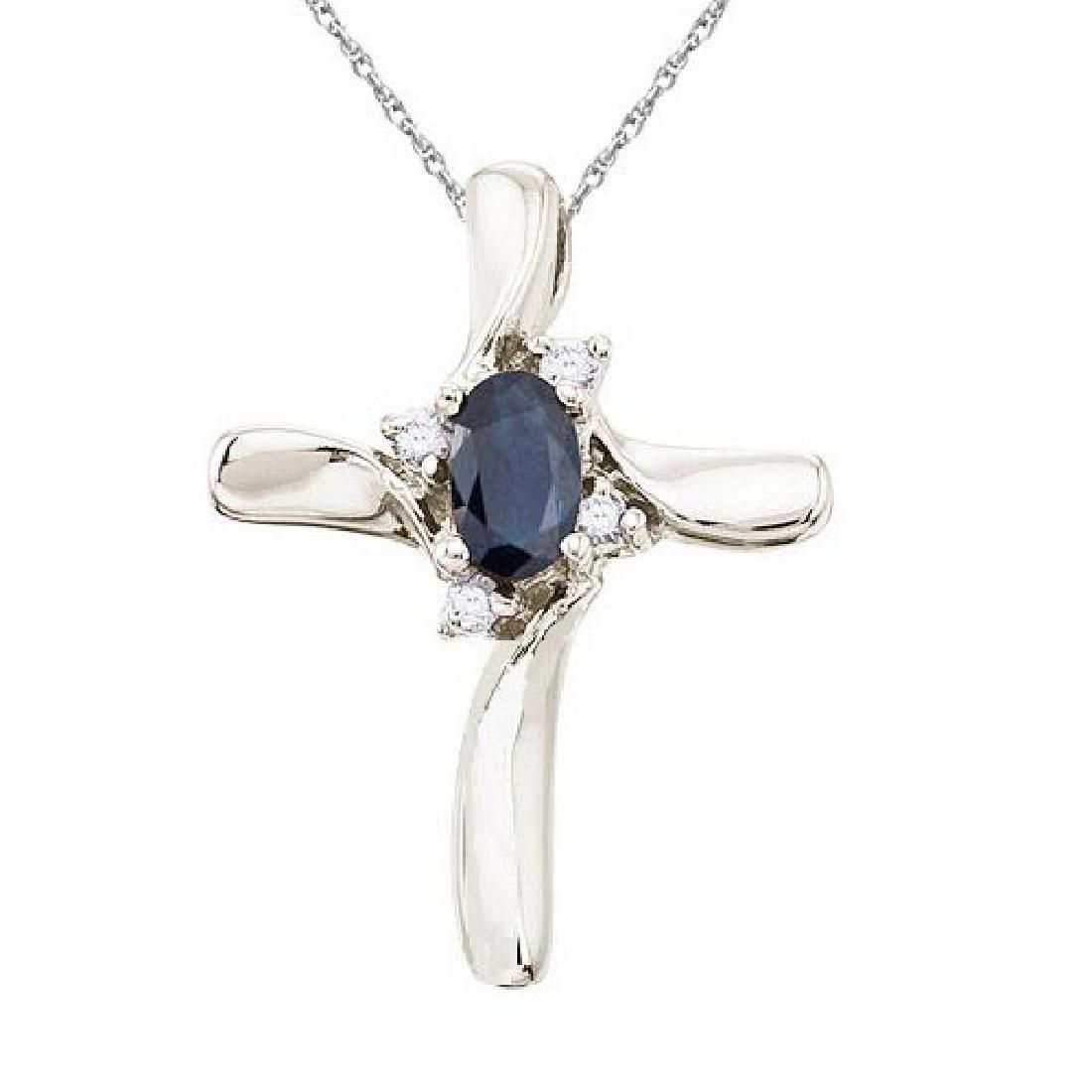 Blue Sapphire and Diamond Cross Necklace Pendant 14k Wh
