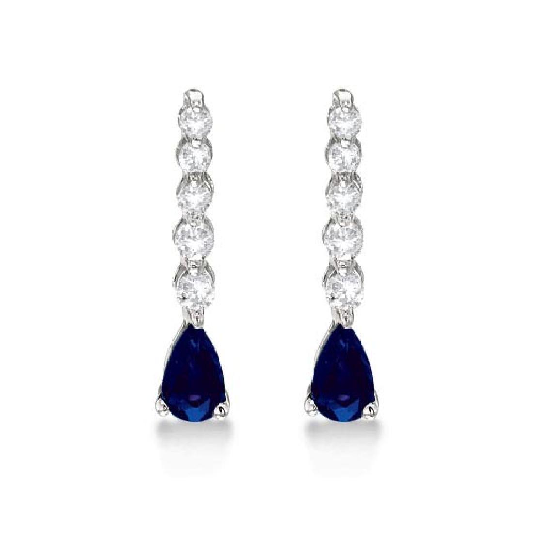 Pear Sapphire and Diamond Graduated Drop Earrings 14k W