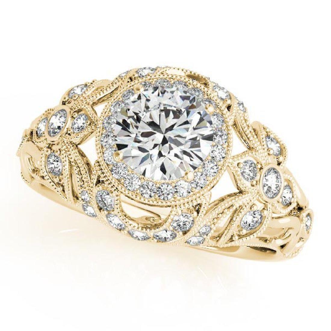 Edwardian Diamond Halo Engagement Ring Floral 14k Yello