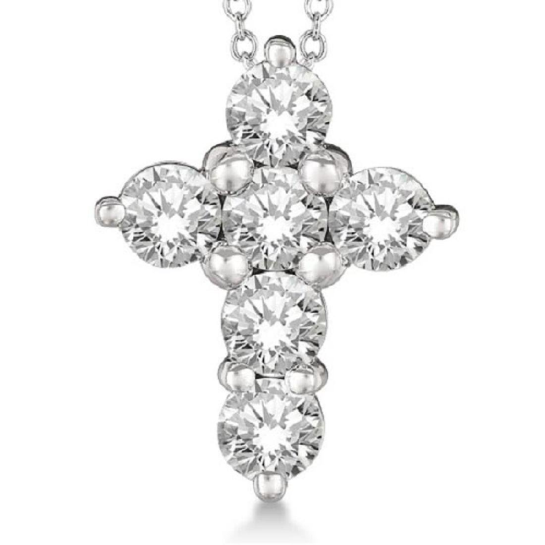 Prong Set Round Diamond Cross Pendant Necklace 14k Whit