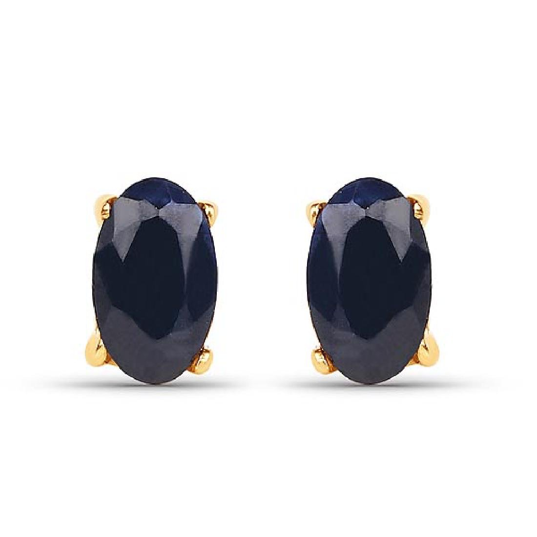 0.70 Carat Genuine Blue Sapphire 10K Yellow Gold Earrin