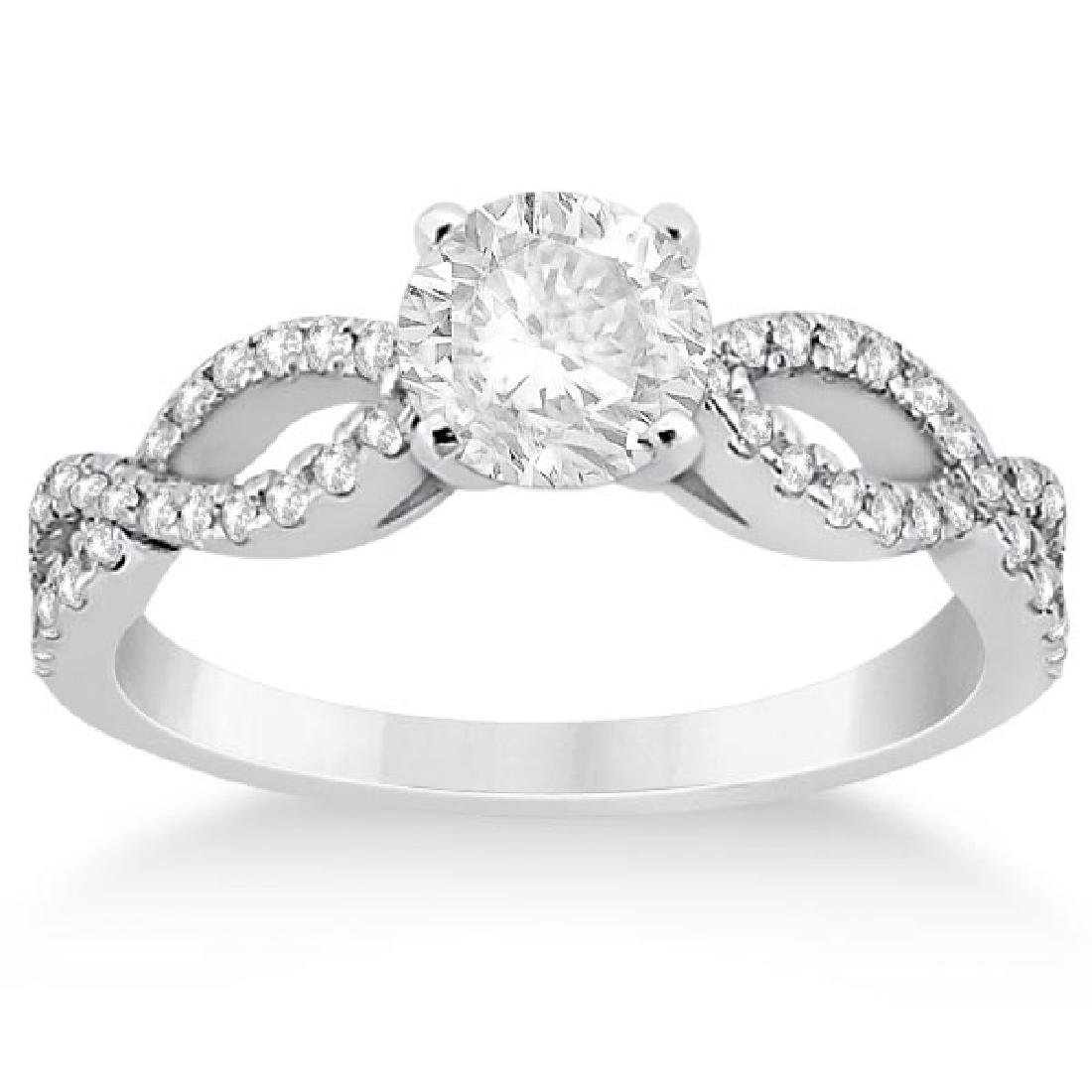 Diamond Twist Infinity Engagement Ring 14K White Gold