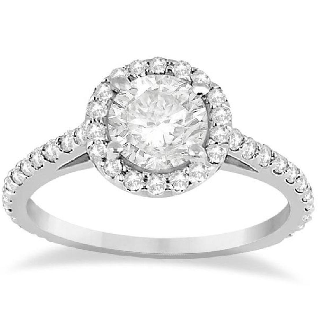 Halo Diamond Cathedral Engagement Ring 14k White Gold
