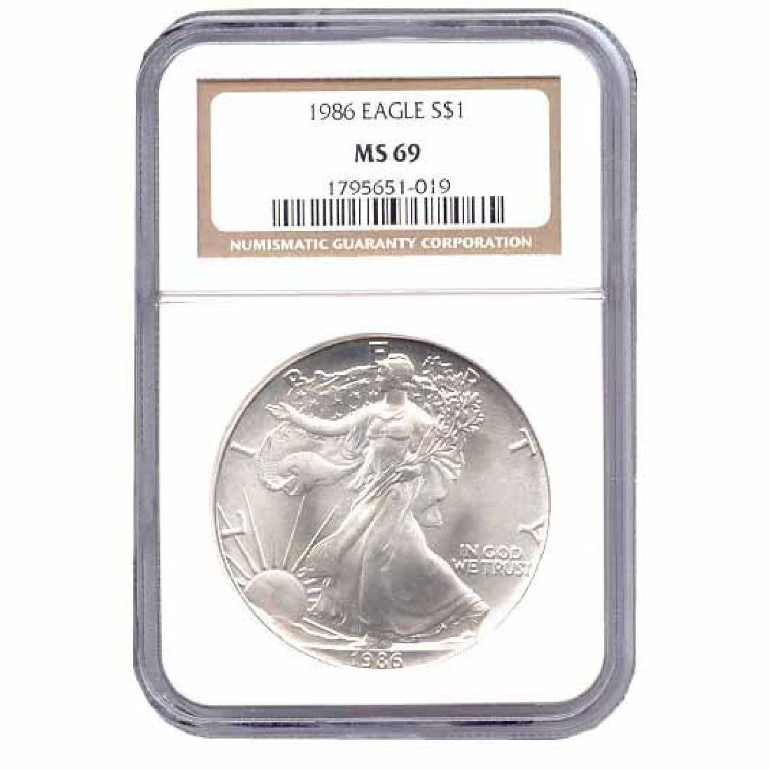Certified Uncirculated Silver Eagle 1986 MS69
