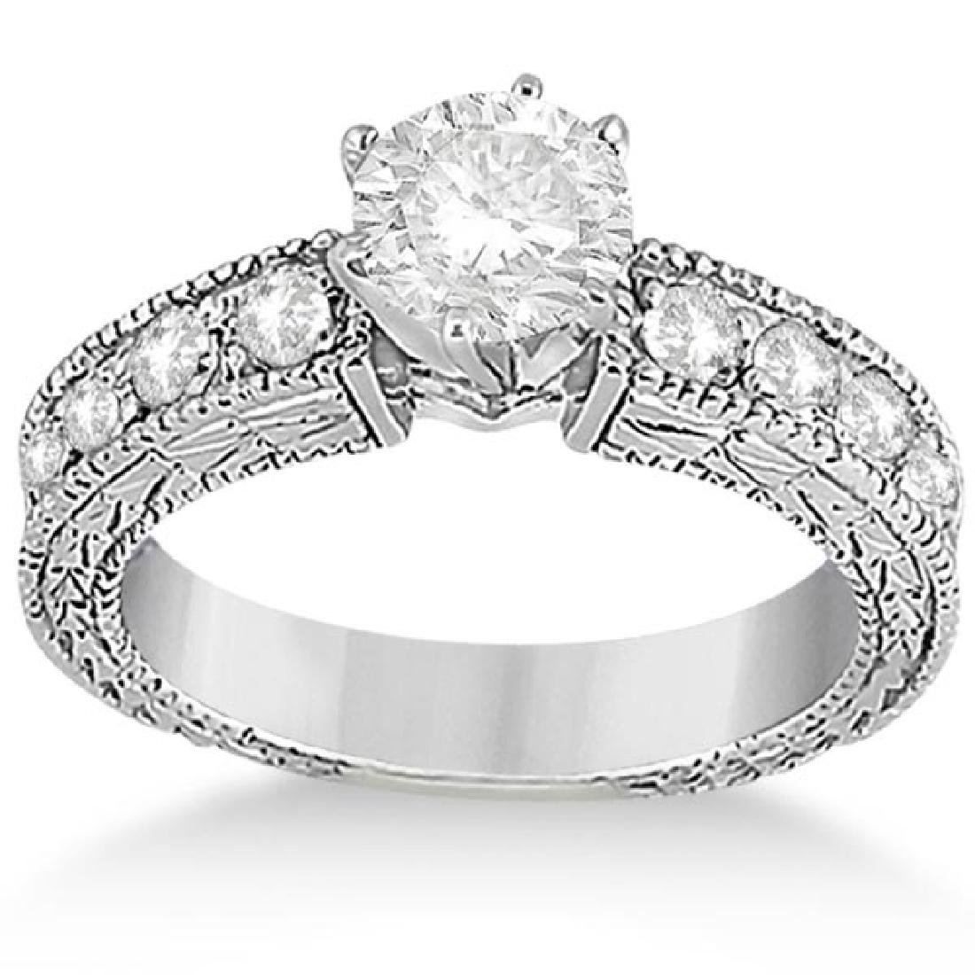 1.70ct Antique Style Diamond Engagement Ring 18K White