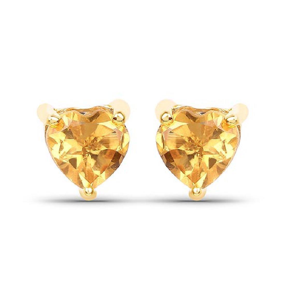 0.50 Carat Genuine Citrine 10K Yellow Gold Earrings
