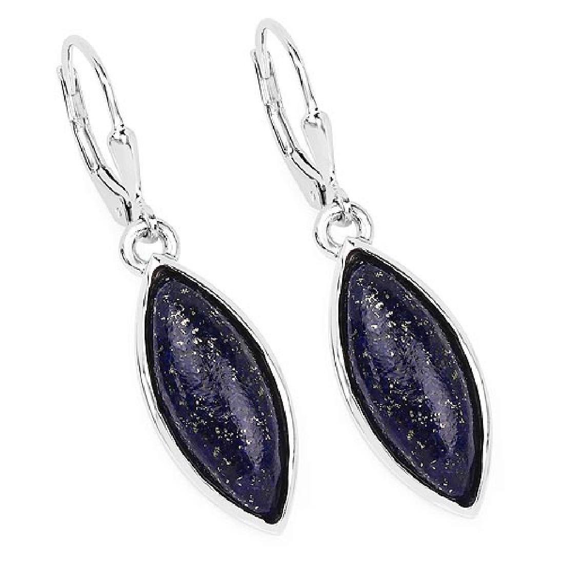 13.90 Carat Genuine Lapis .925 Sterling Silver Earrings