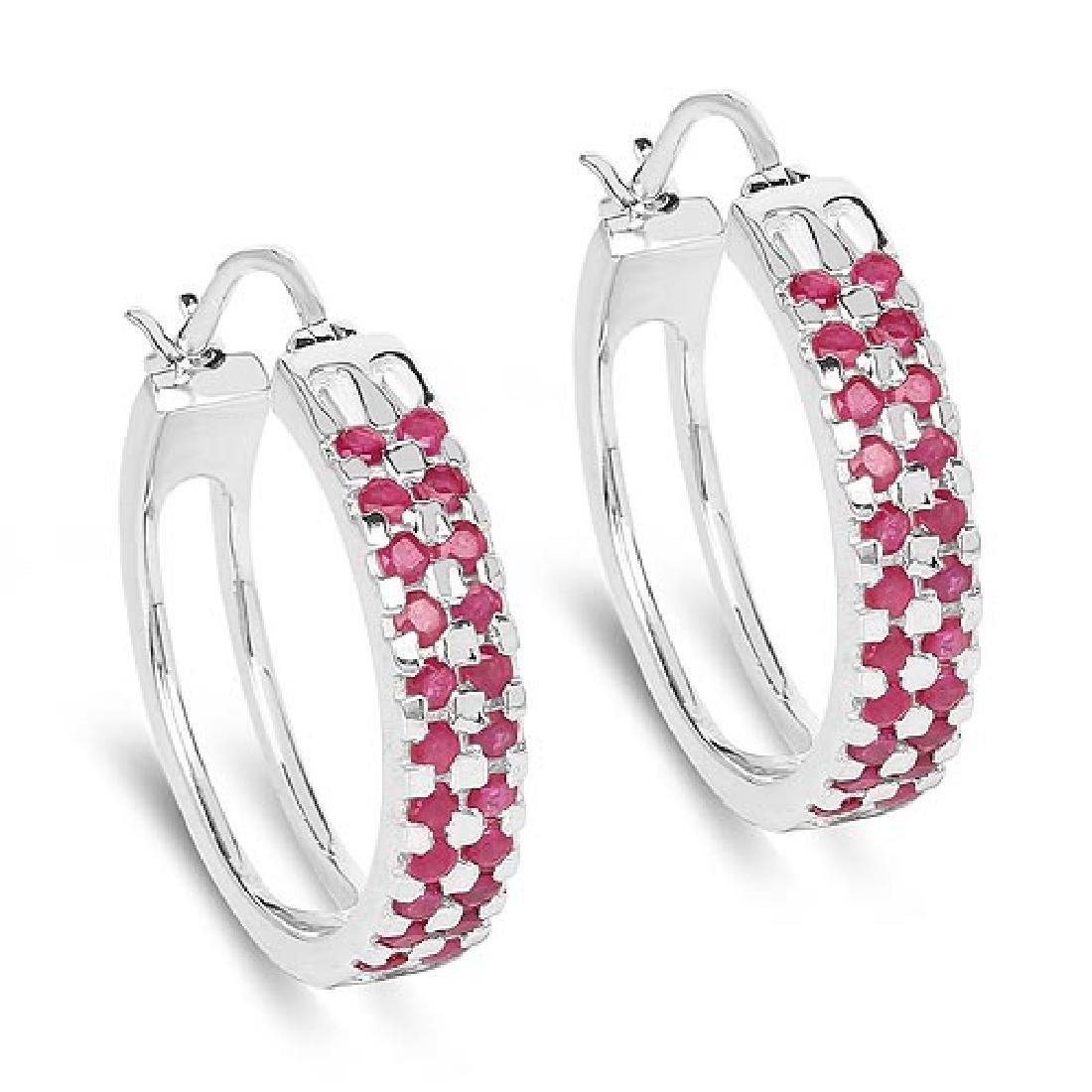 2.20 Carat Genuine Ruby .925 Sterling Silver Earrings