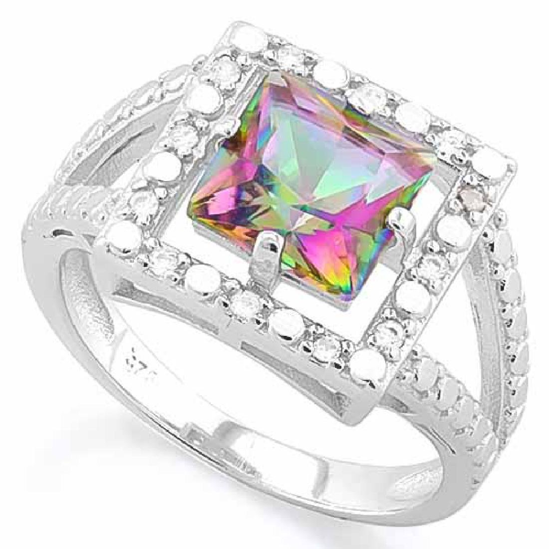 1 1/2 CARAT MYSTIC GEMSTONE & DIAMOND 925 STERLING SILV