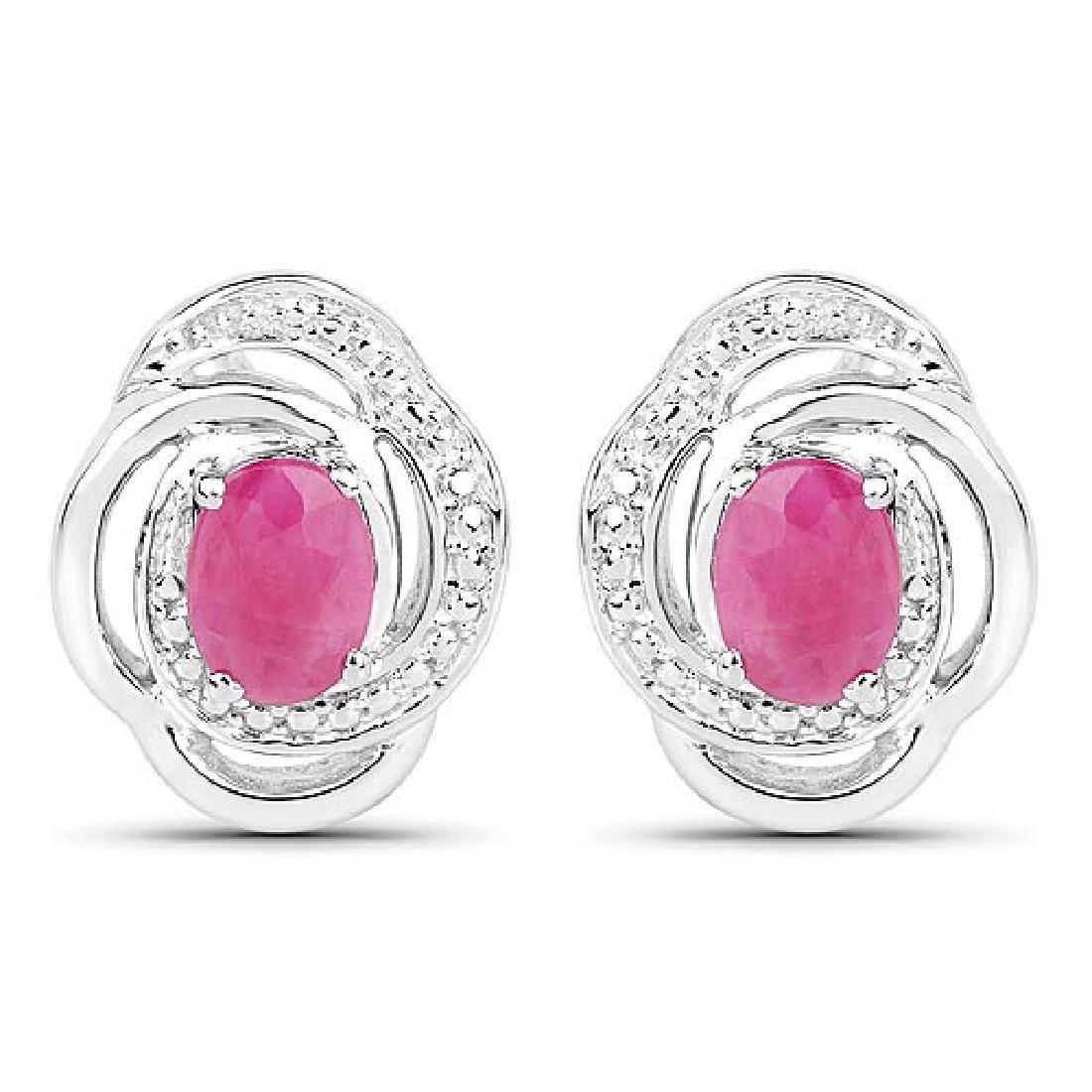1.90 Carat Genuine Ruby .925 Sterling Silver Earrings