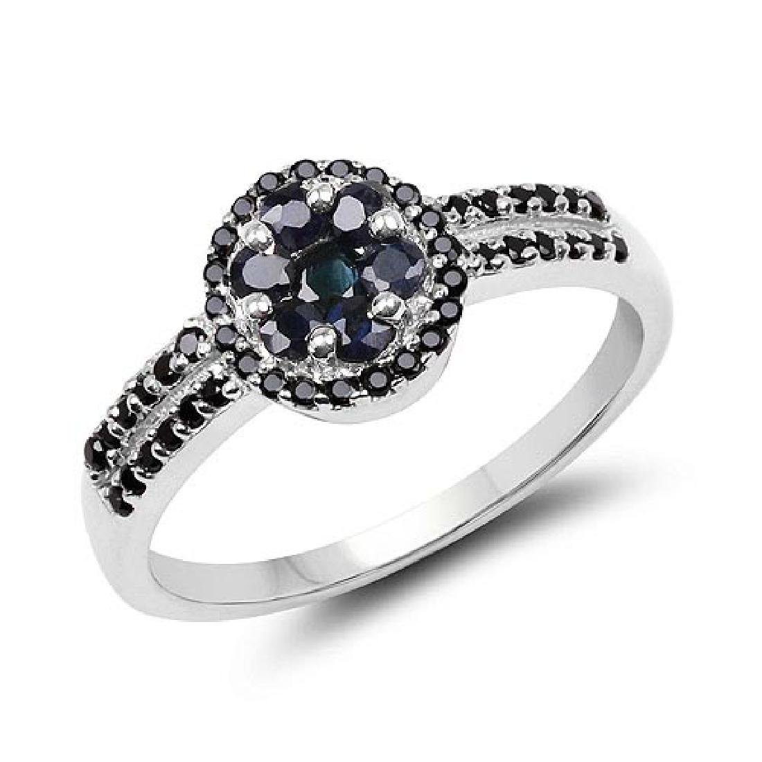 0.71 Carat Genuine Blue Sapphire and Black Spinel .925