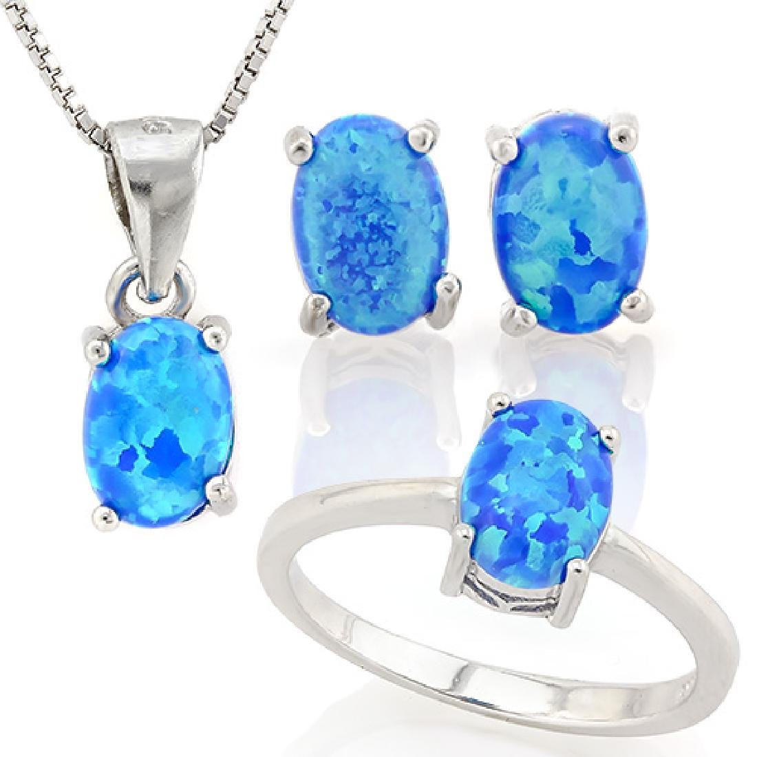 2 CARAT CREATED BLUE FIRE OPAL 925 STERLING SILVER SET