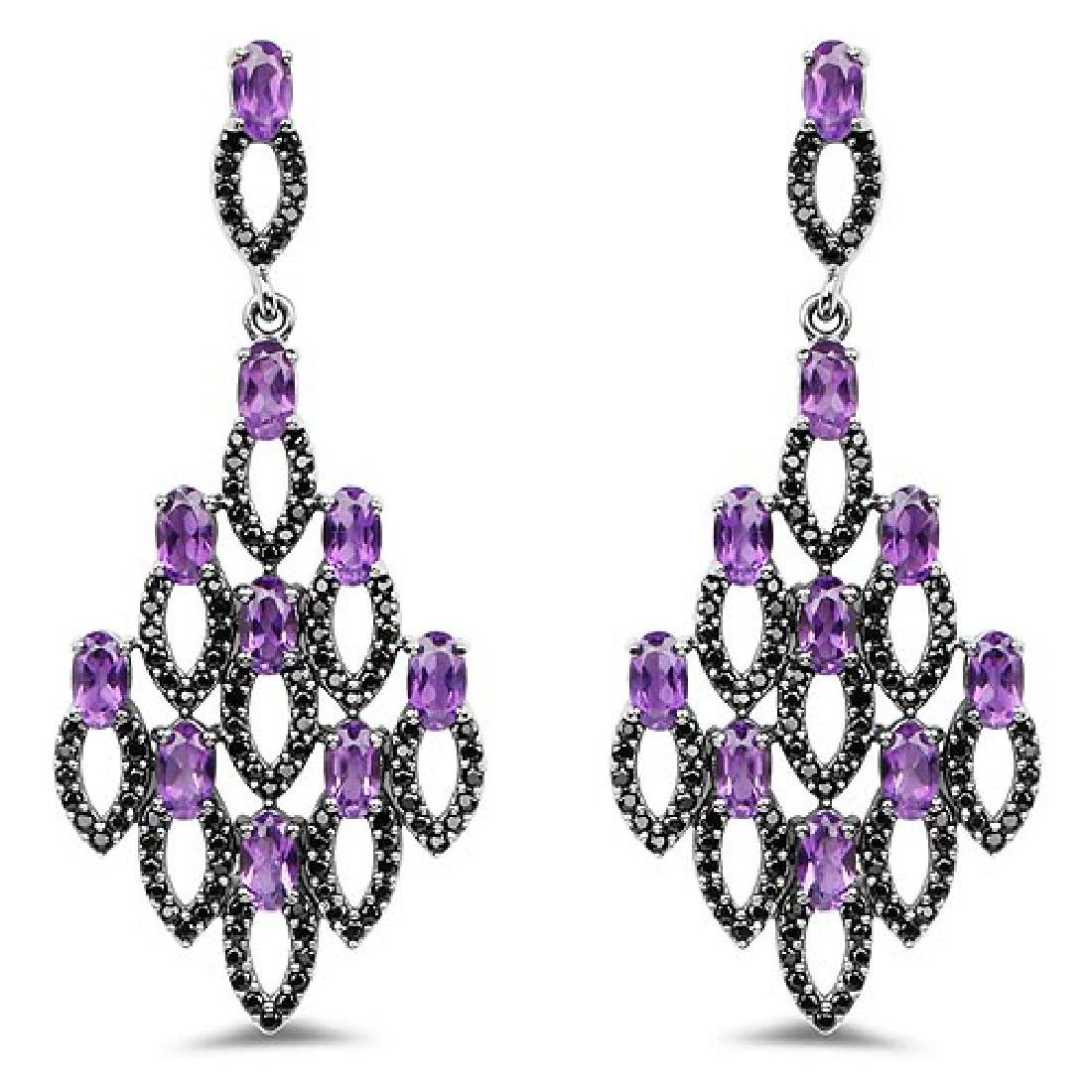6.00 Carat Genuine Amethyst and Black Spinel .925 Sterl