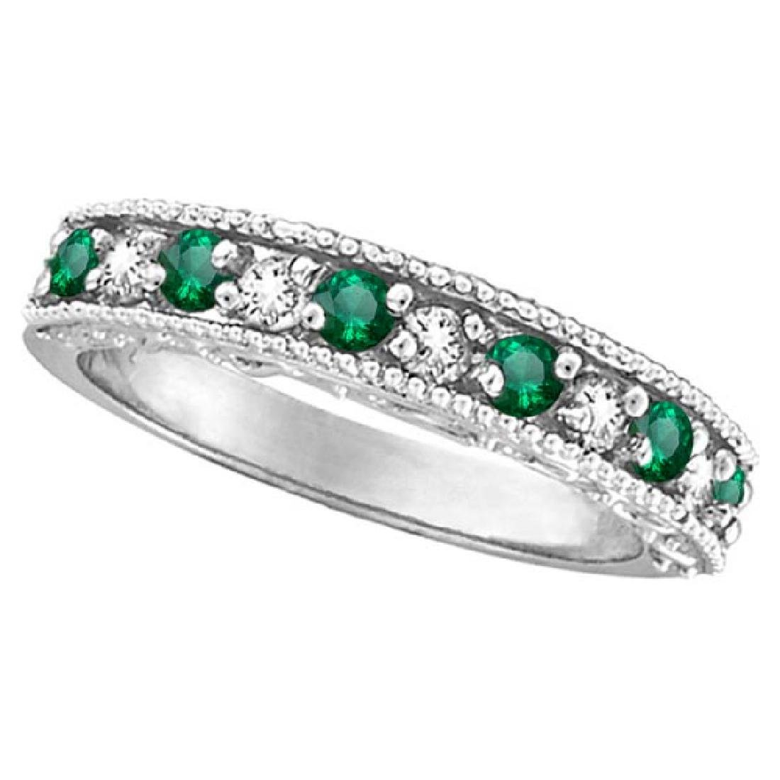 Emerald and Diamond Ring Anniversary Band 14k White Gol