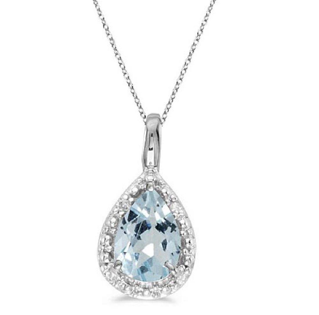Pear Shaped Aquamarine Pendant Necklace 14k White Gold