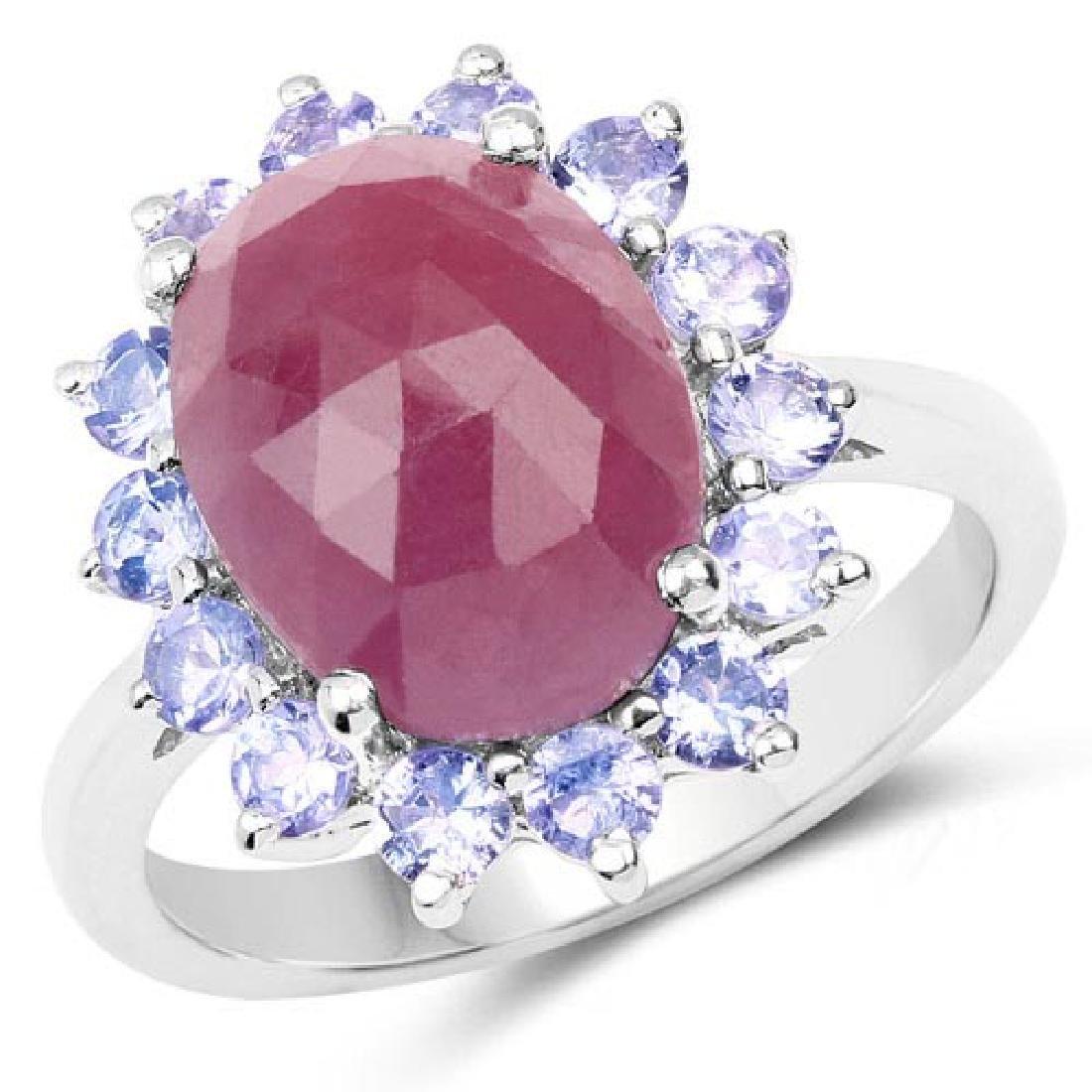5.53 Carat Genuine Pink Sapphire and Tanzanite .925 Ste