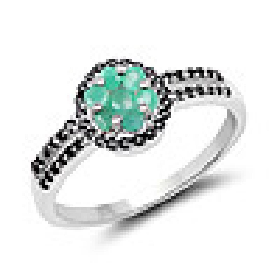 0.72 Carat Genuine Emerald and Black Spinel .925 Sterli