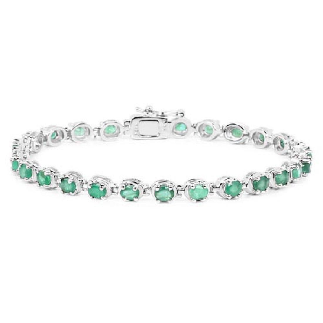 3.90 Carat Genuine Zambian Emerald .925 Sterling Silver