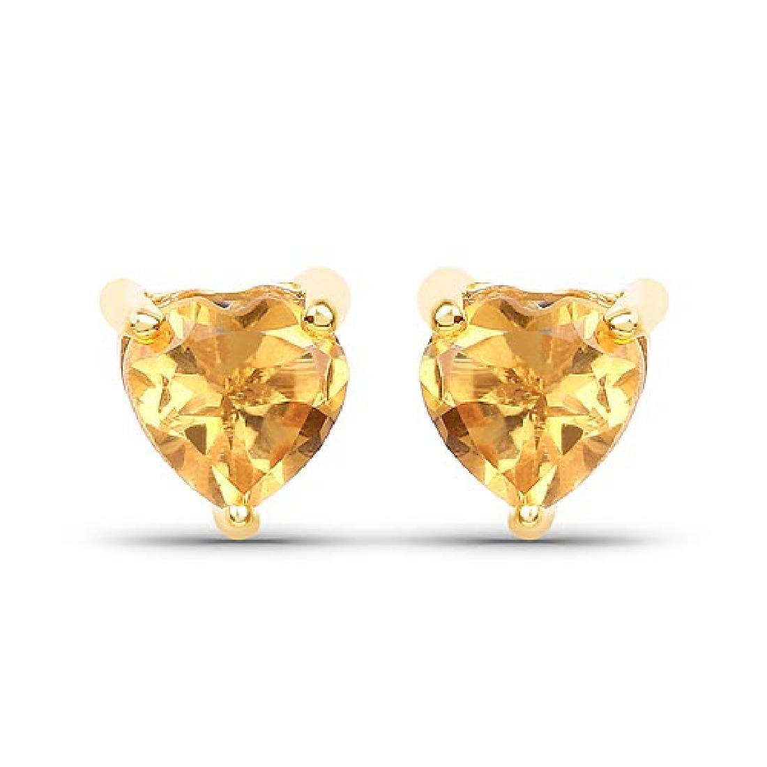 0.50 Carat Genuine Citrine 10K Yellow Gold Earrings