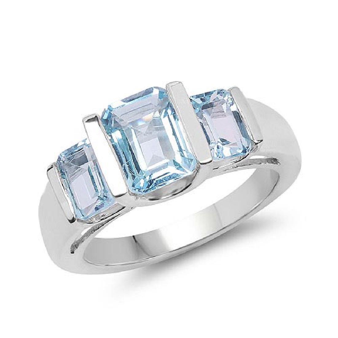 3.21 Carat Genuine Blue Topaz .925 Sterling Silver Ring