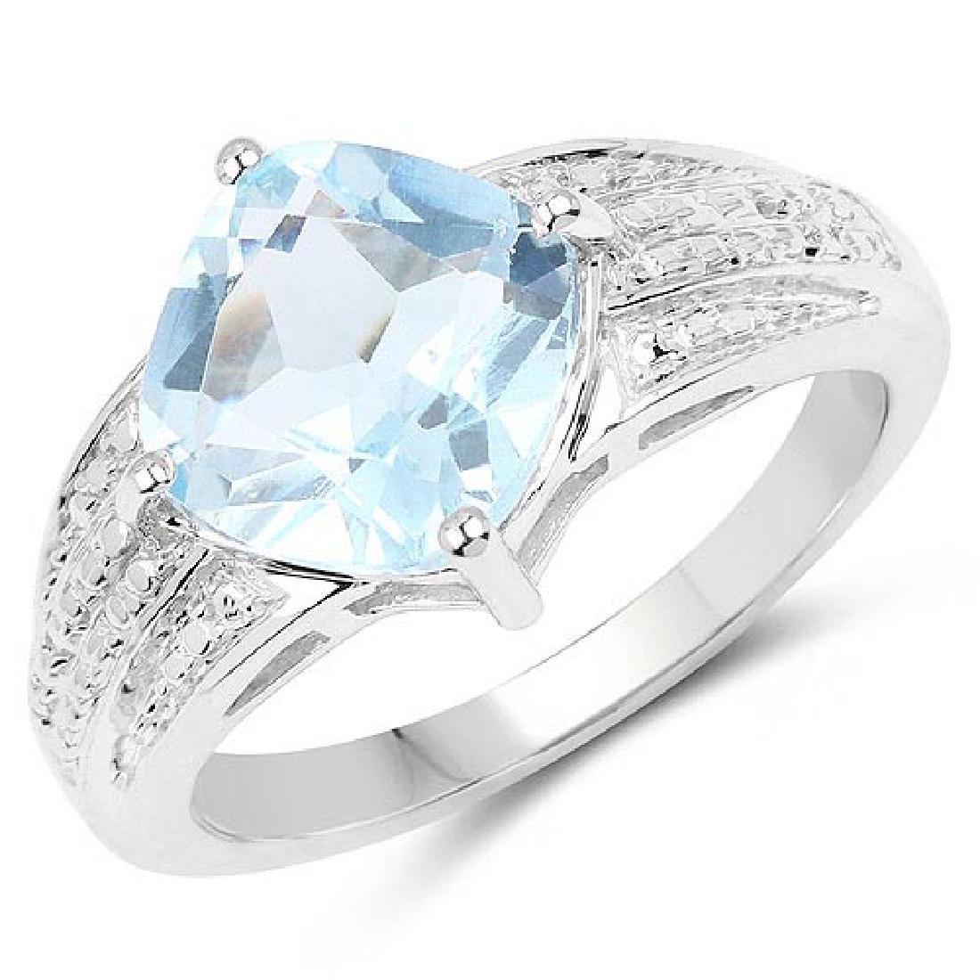 3.65 Carat Genuine Blue Topaz .925 Sterling Silver Ring