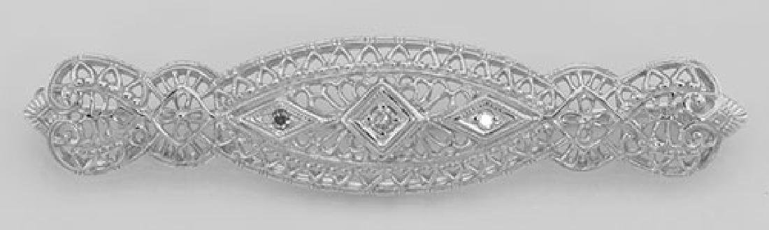 Art Deco Style Filigree 3 Diamond Bar Pin / Brooch - St