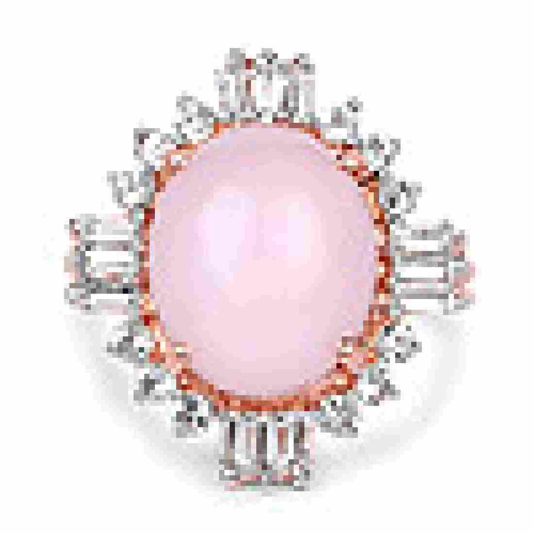 14K Rose Gold Plated 6.42 Carat Genuine Pink Opal and W