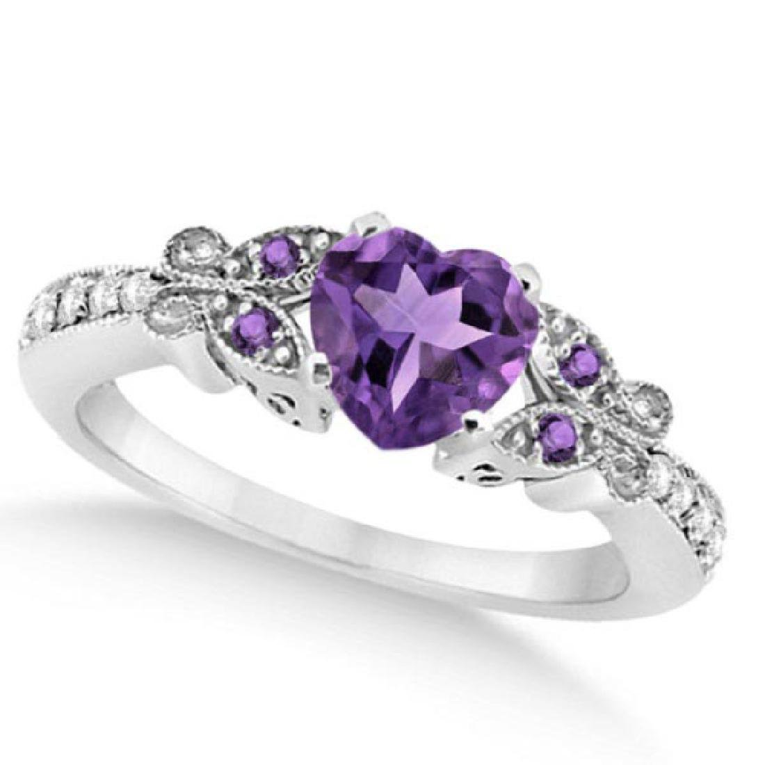 Butterfly Amethyst and Diamond Heart Engagement Ring 14