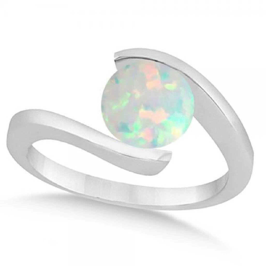 Tension Set Solitaire Opal Engagement Ring 14k White Go