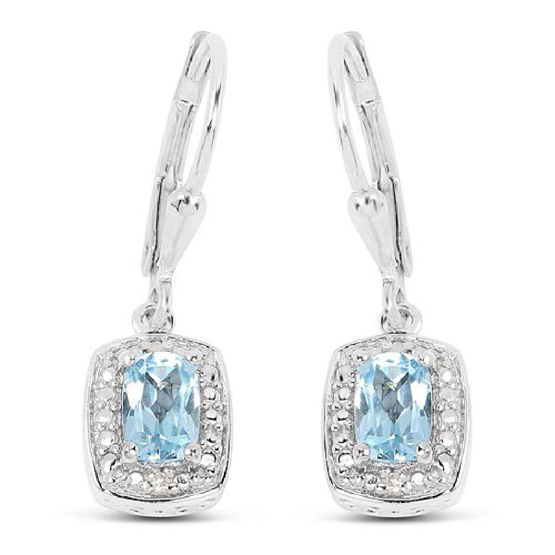 1.23 Carat Genuine Blue Topaz and White Diamond .925 St