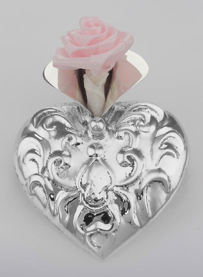 Victorian Style Repousse Heart Vase Pin - Sterling Silv